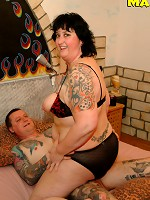 Tatooed mature couple fucking hard and long